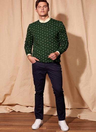 DeFacto Desenli Sweatshirt Yeşil